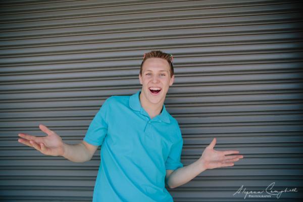 goofy fun photo of high school guy by Alyssa Campbell Photography