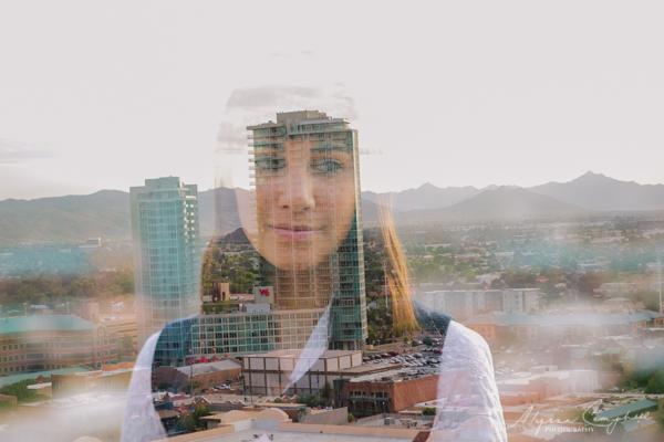 double exposure of girl & Tempe AZ skyline