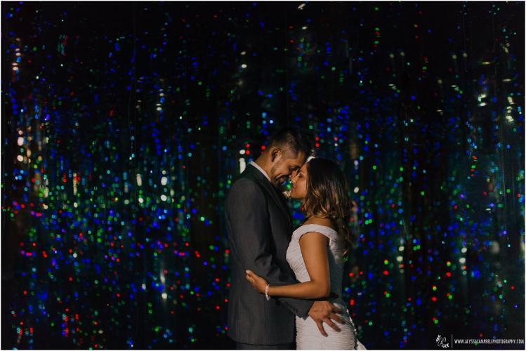 bride & groom in Phoenix Art Muesum's 'Fireflies' exhibit