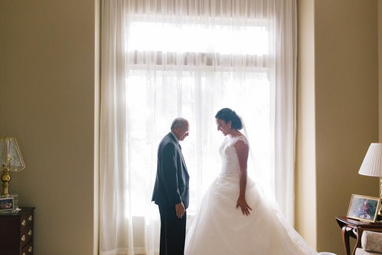 father seeing bride for first time Mesa wedding photographer