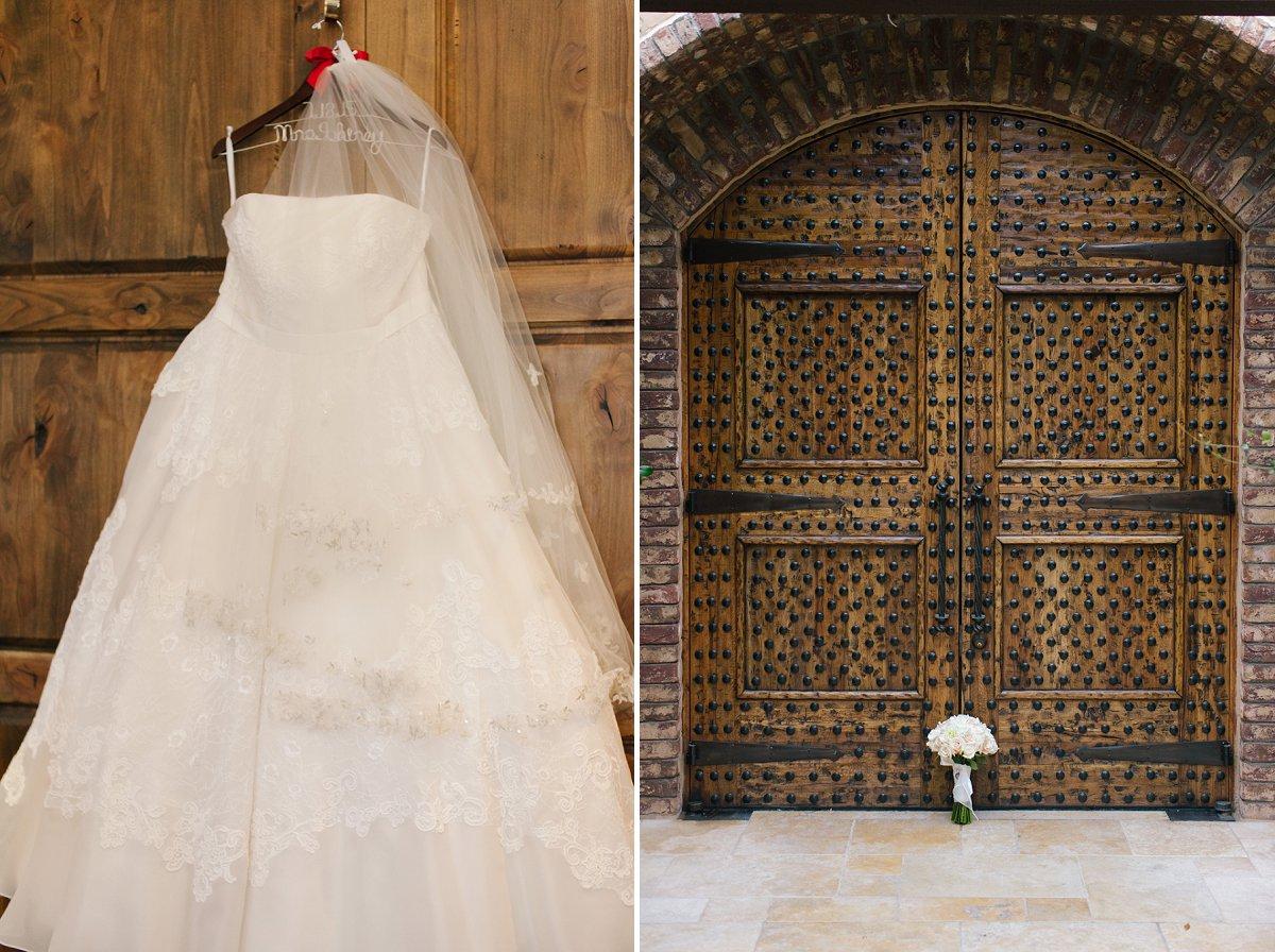 wedding dress & flowers on beautiful wooden doors at Sassi Scottsdale wedding venue