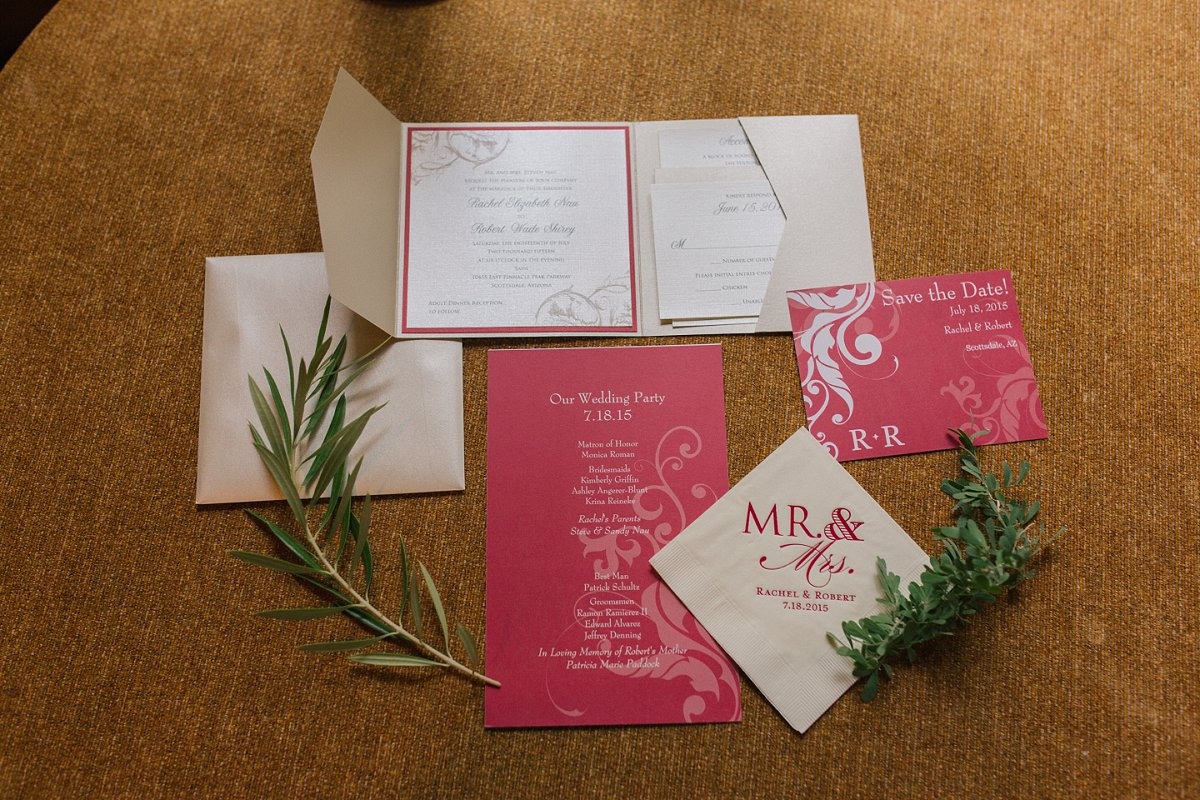 red & white classic wedding invitation suite