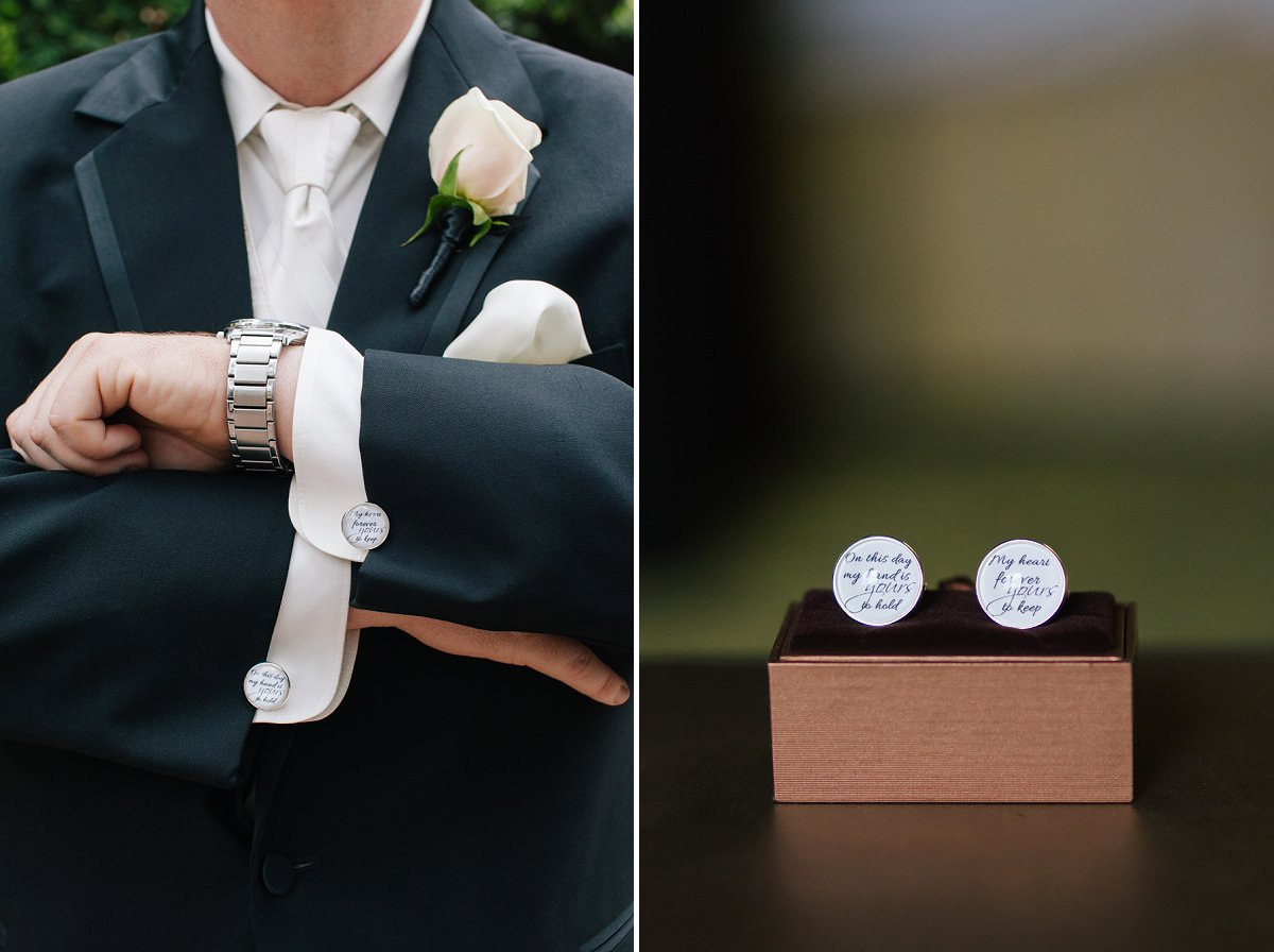 custom cuff links for wedding at Sassi desert wedding venue in Scottsdale
