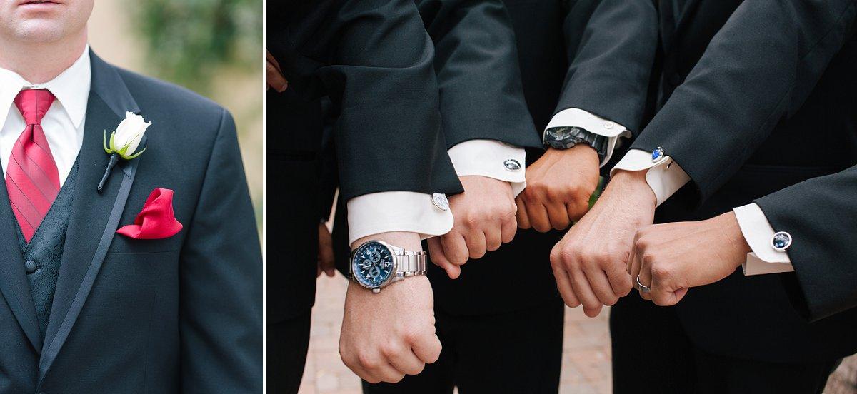 groomsmen wedding details white and red classy wedding at Sassi Scottsdale