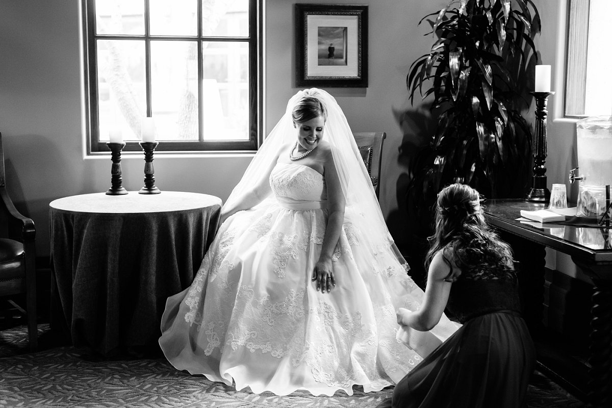 bride getting ready at Sassi Tuscan villa wedding venue in Arizona