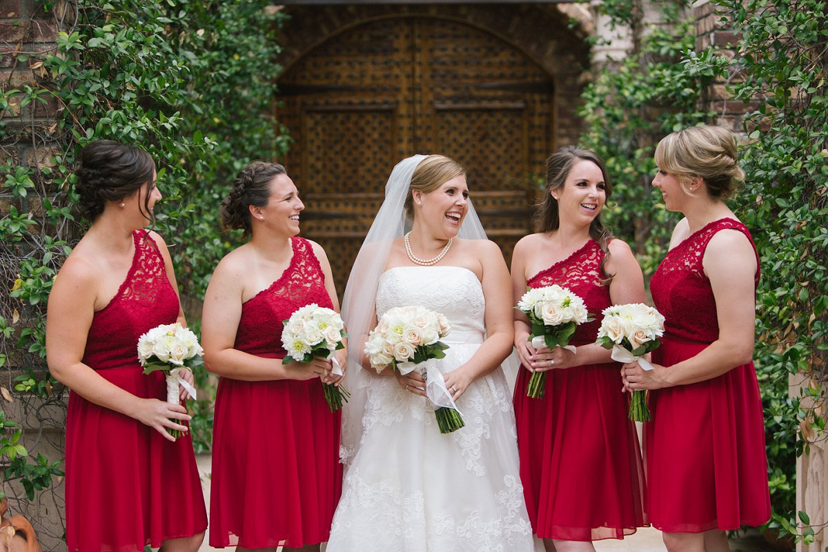 bridal party red & white classy timeless wedding at Sassi