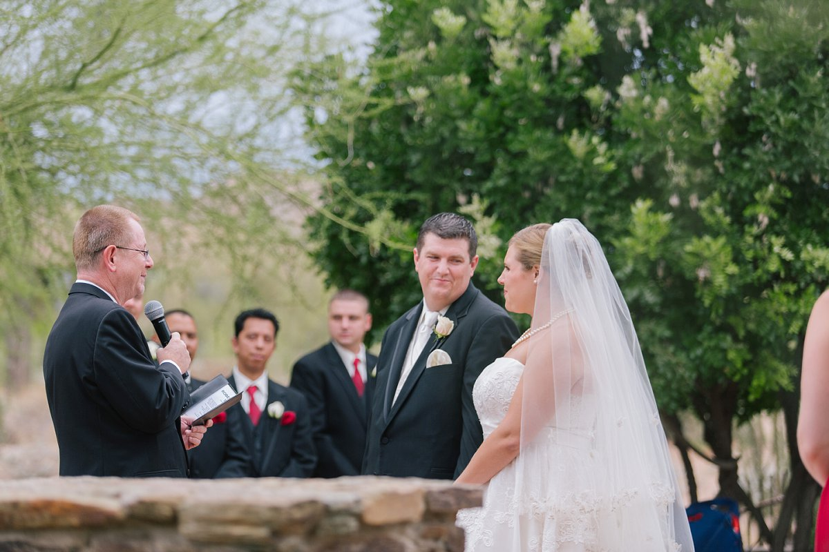 ceremony at Sassi outdoor desert Tuscan wedding venue