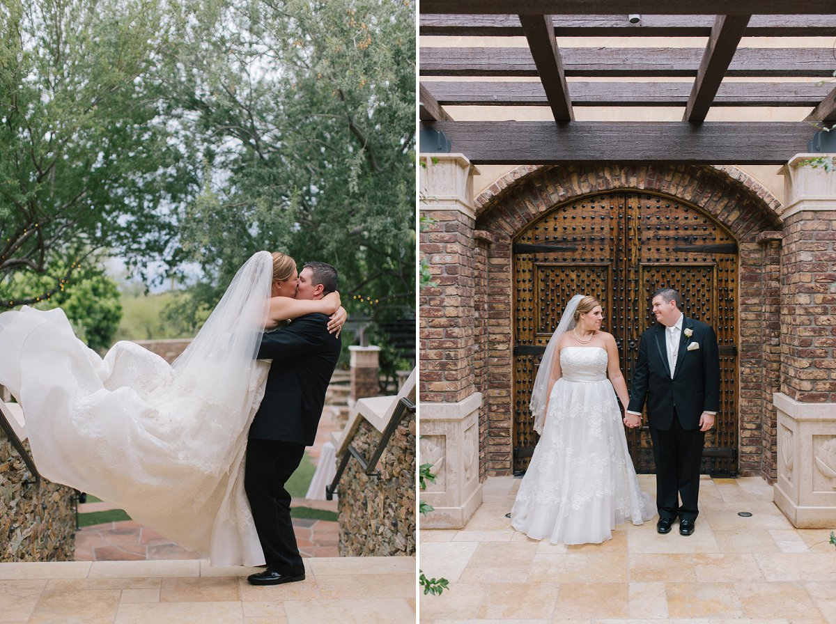 bride & groom at Sassi Tuscan wedding venue