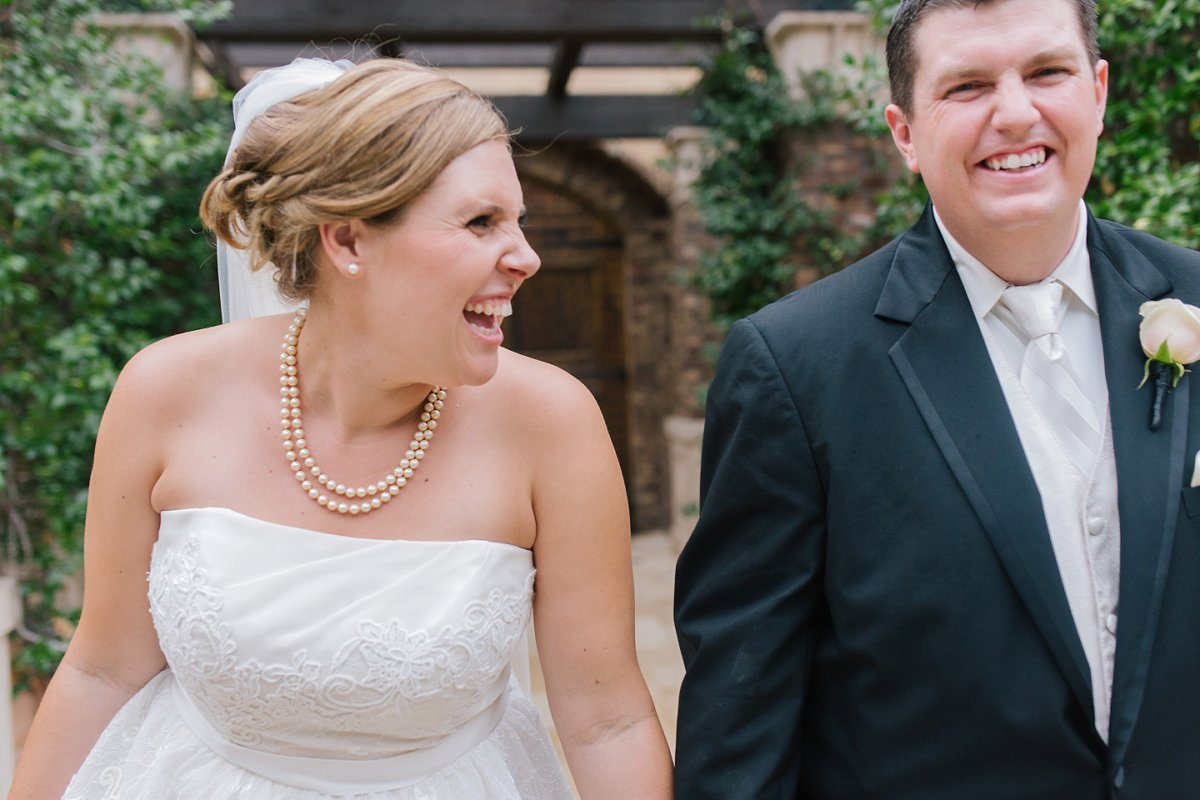 candid natural laughing bride & groom portrait at Sassi