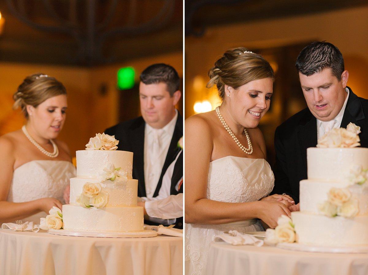 cake cutting at Sassi wedding reception