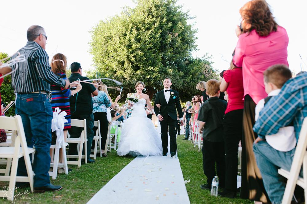 bride and groom walking down aisle married with crowd cheering in backyard wedding