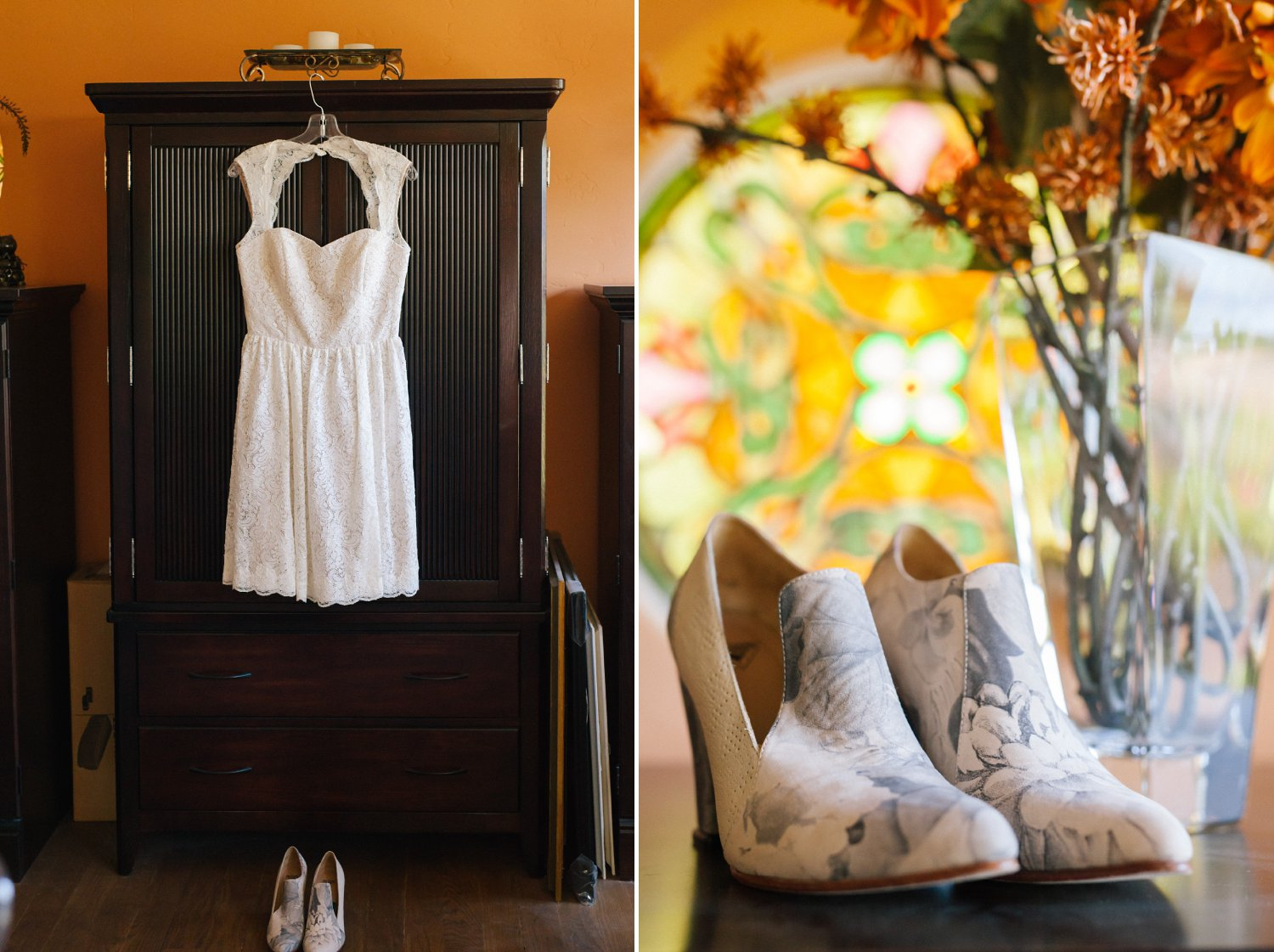 short lace dress and leather flower shoes summer Arizona Encanto Park wedding