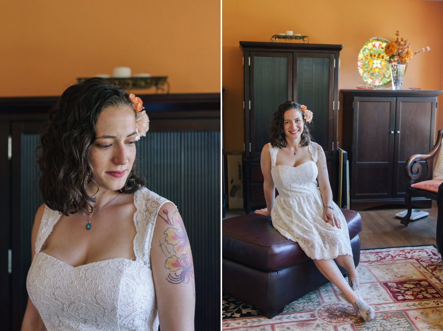 Arizona nontraditional bride at home with short lace dress and flowers in hair