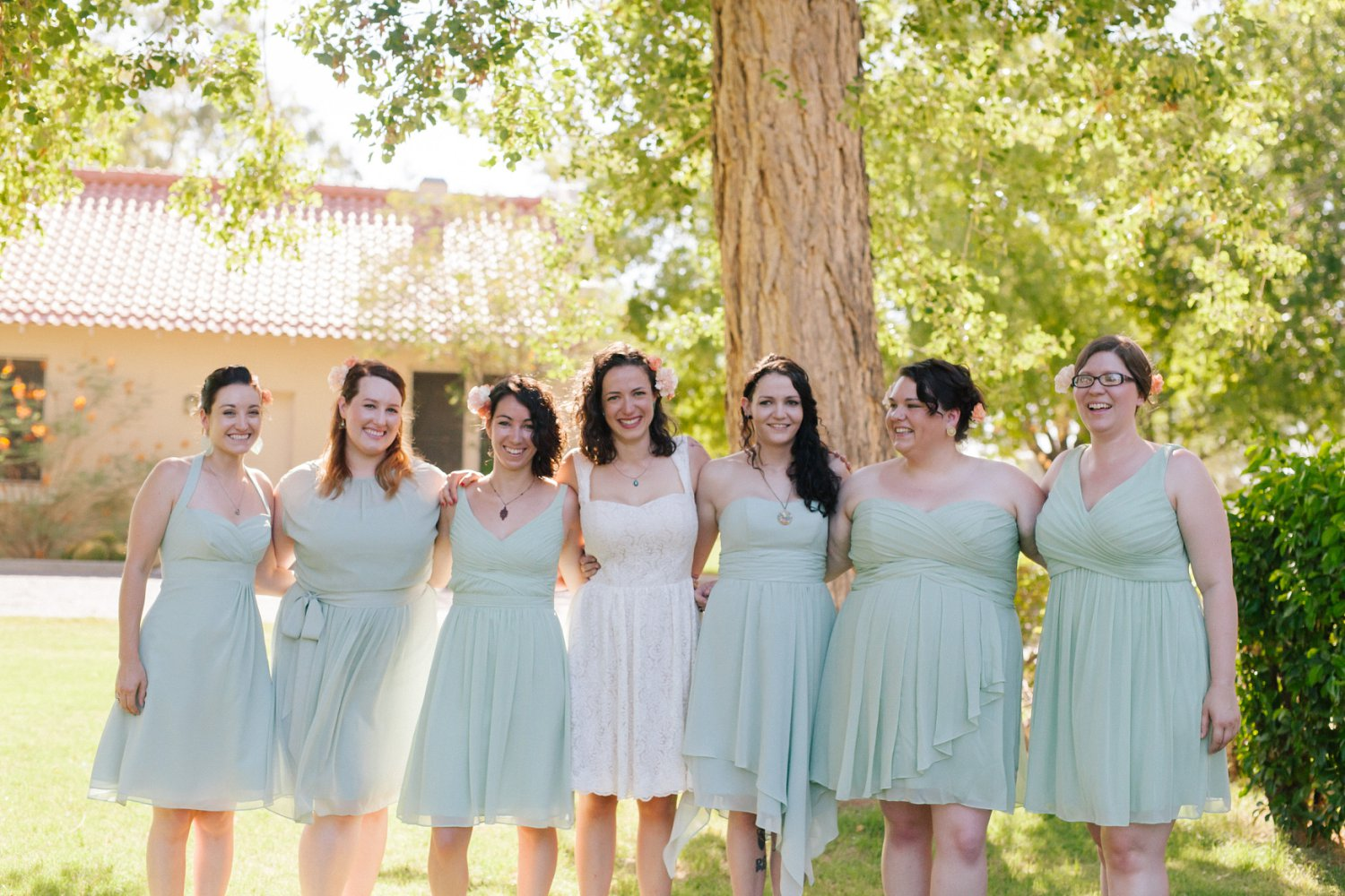 sage bridesmaids dresses Phoenix AZ Encanto Park wedding