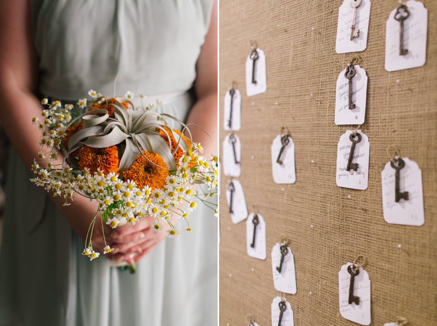 sage and orange bouquet and old keys seating chart Phoenix wedding photographer