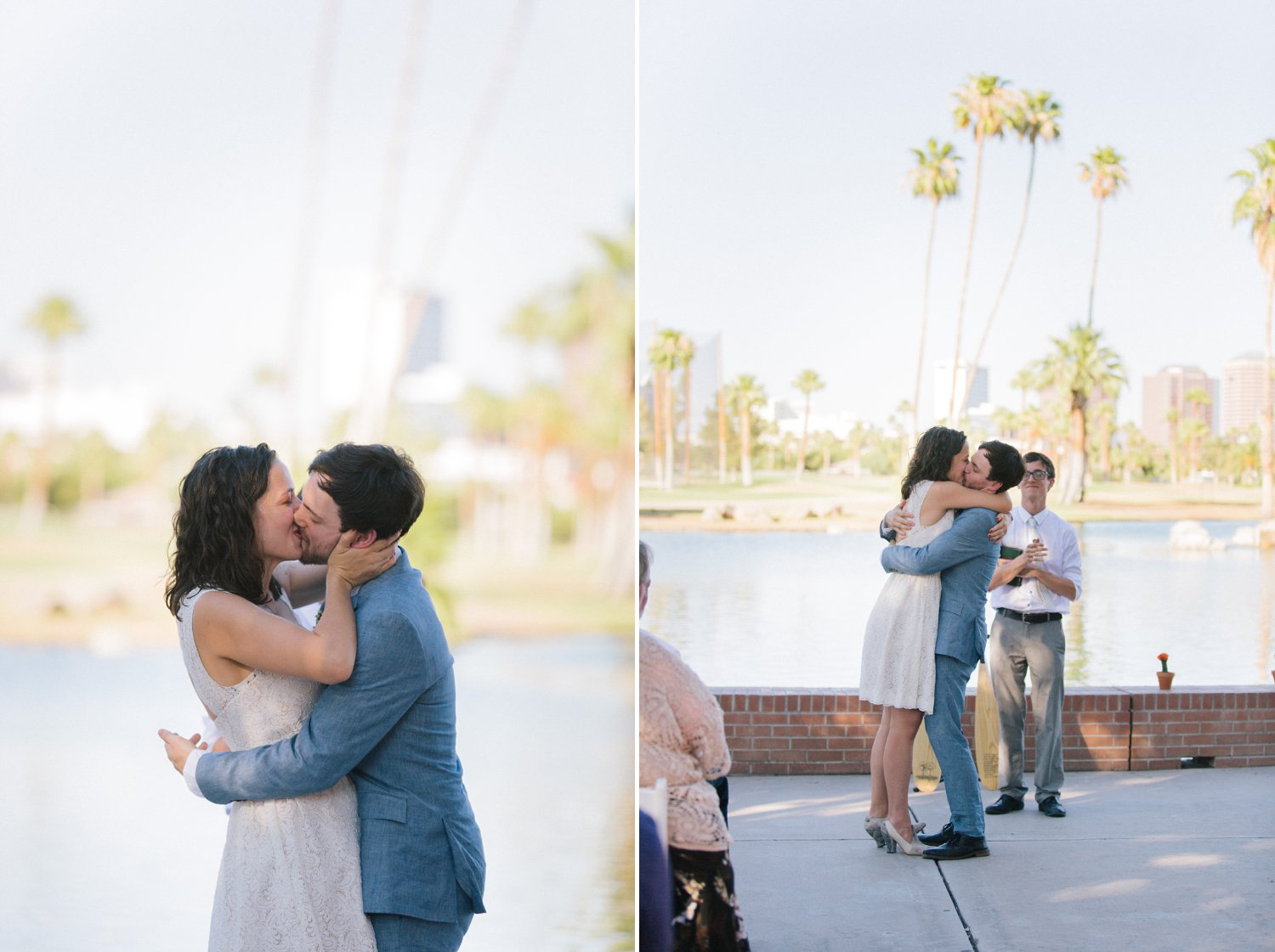 Encanto Park wedding first kiss
