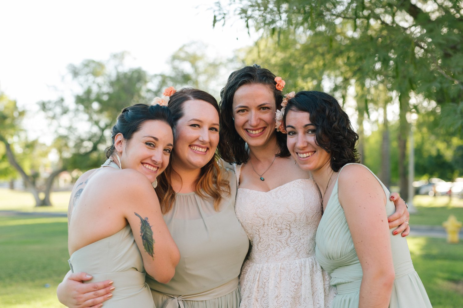 bridesmaids & bride at Encanto Park wedding Phoenix