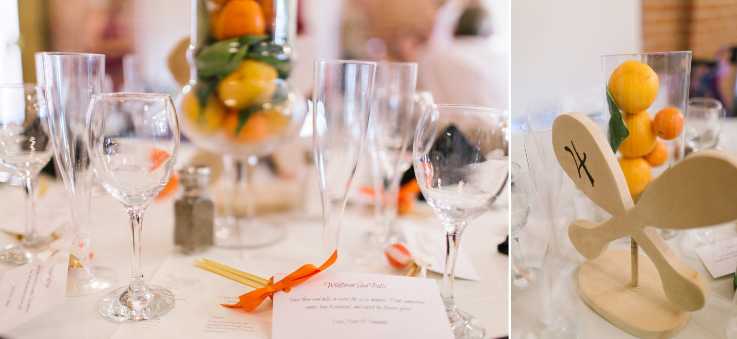 canoe and citrus wedding centerpieces