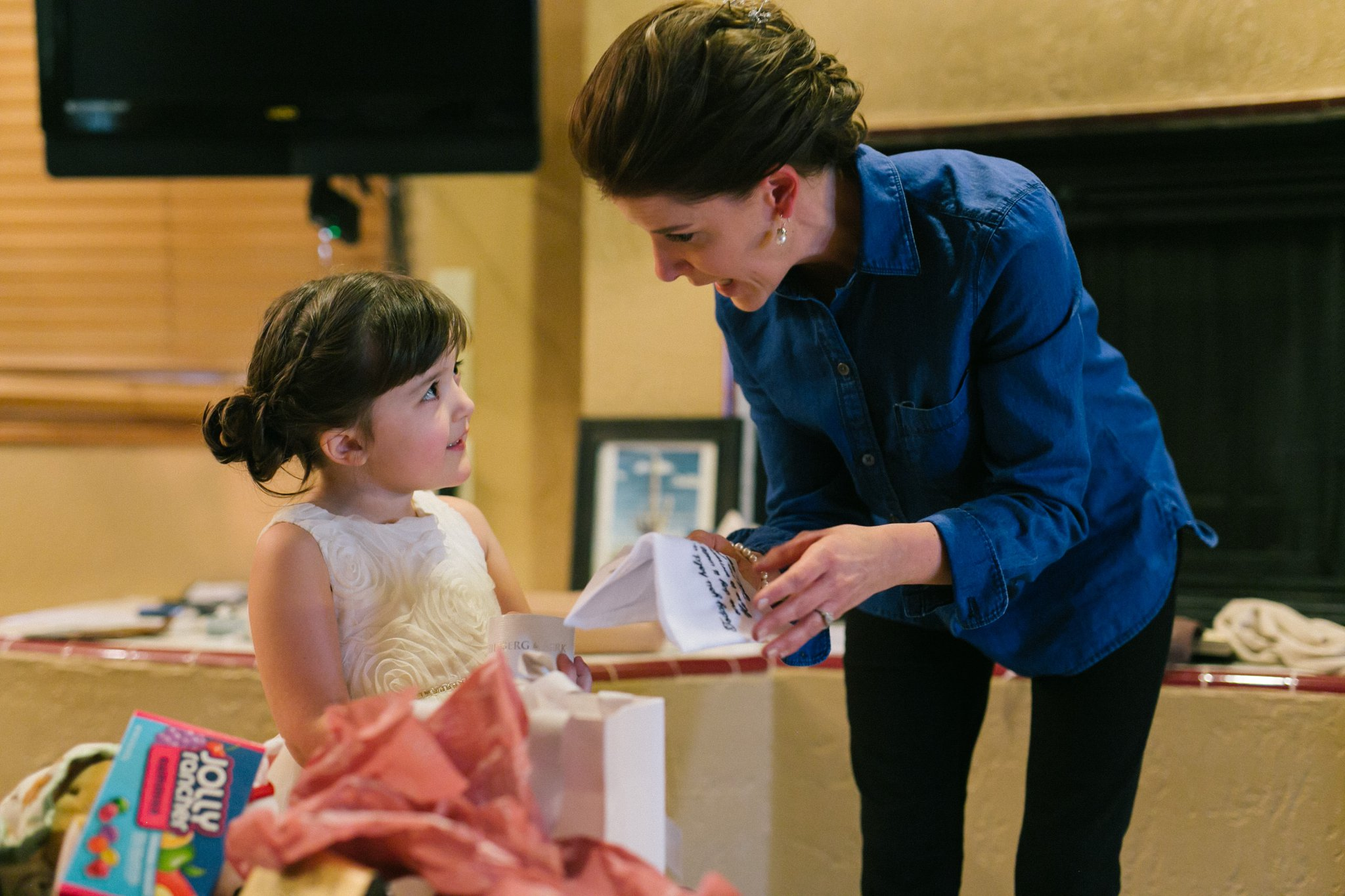 bride giving daughter gift on wedding day at Gold Canyon Resort