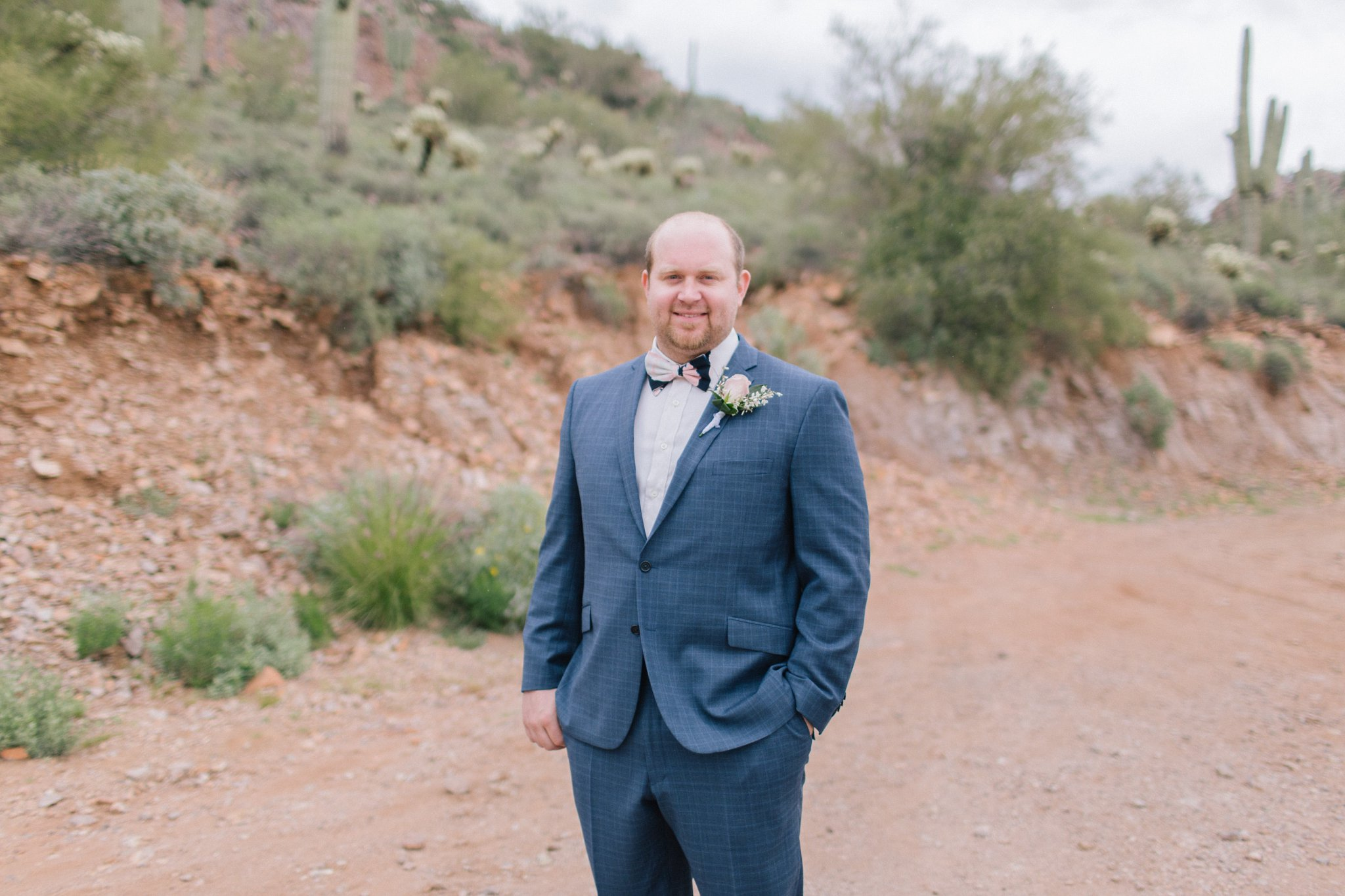Groom in the desert at Gold Canyon Golf Resort & Spa wedding