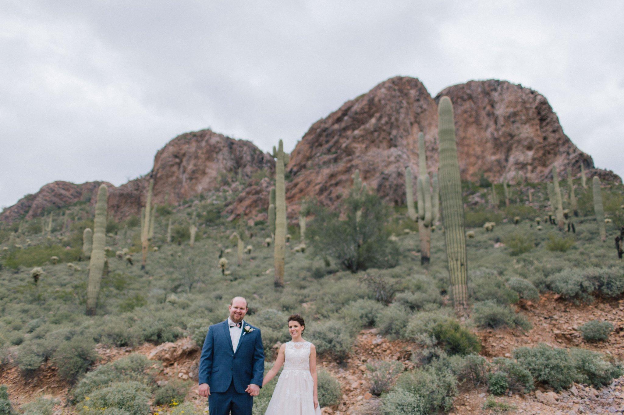 bride & groom in the desert Gold Canyon Golf Resort wedding