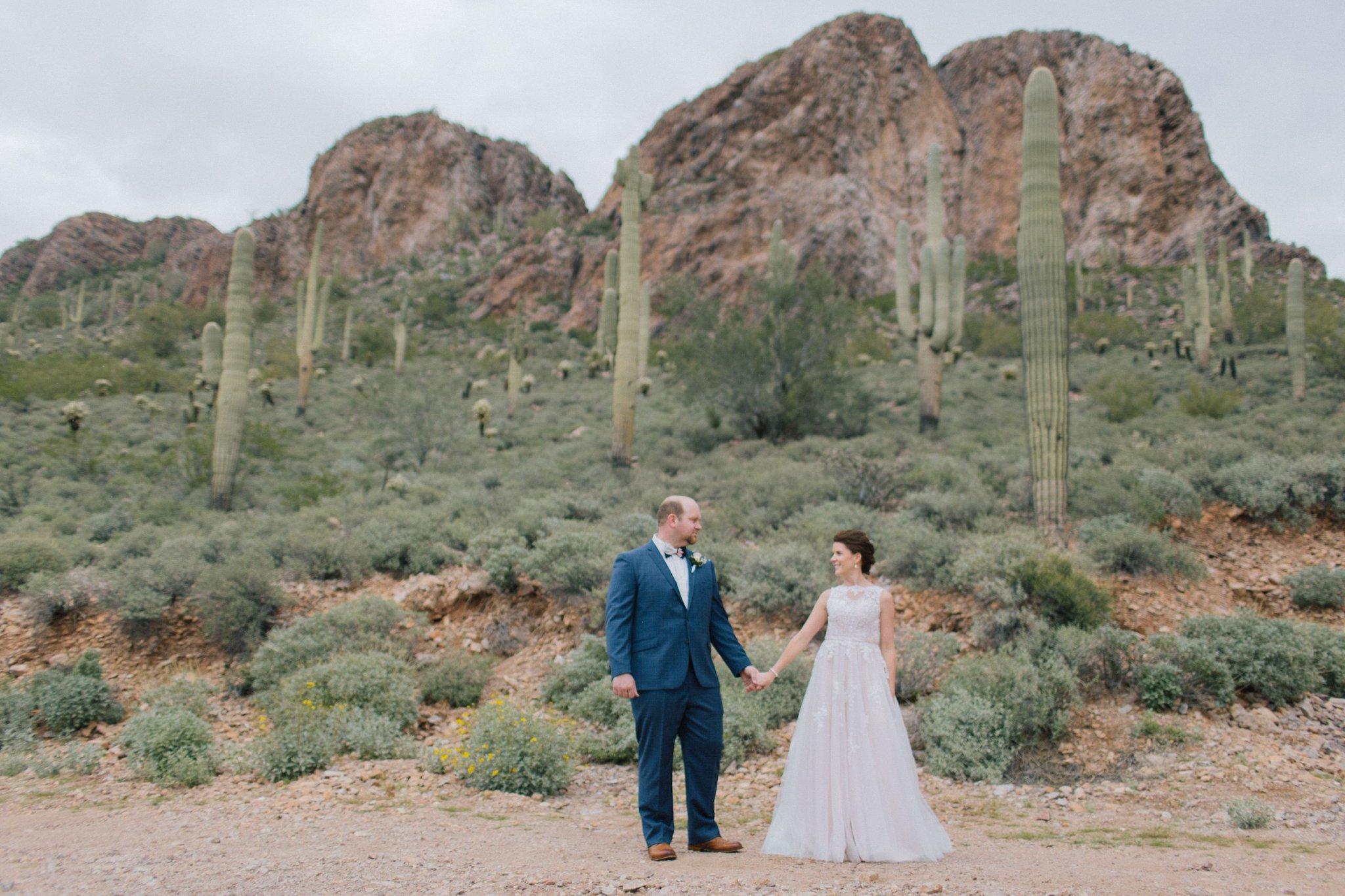 bride & groom in Arizona desert