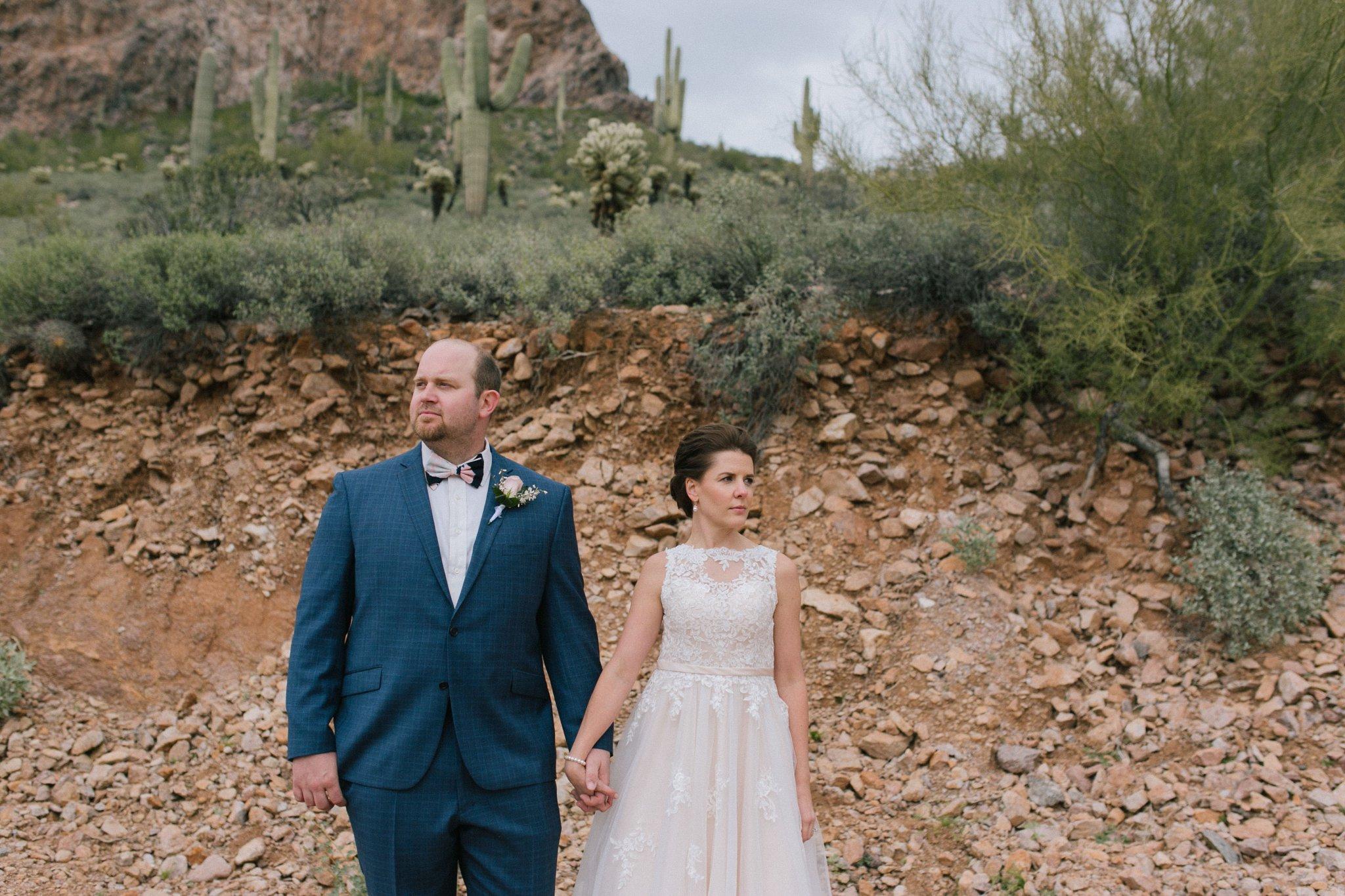 bride & groom in the Arizona desert Gold Canyon