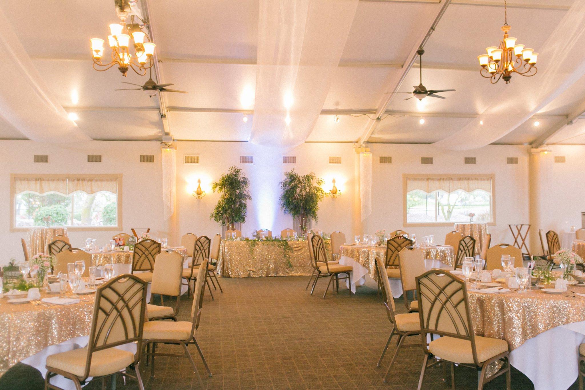 gold and pink wedding reception at Gold Canyon Golf Resort