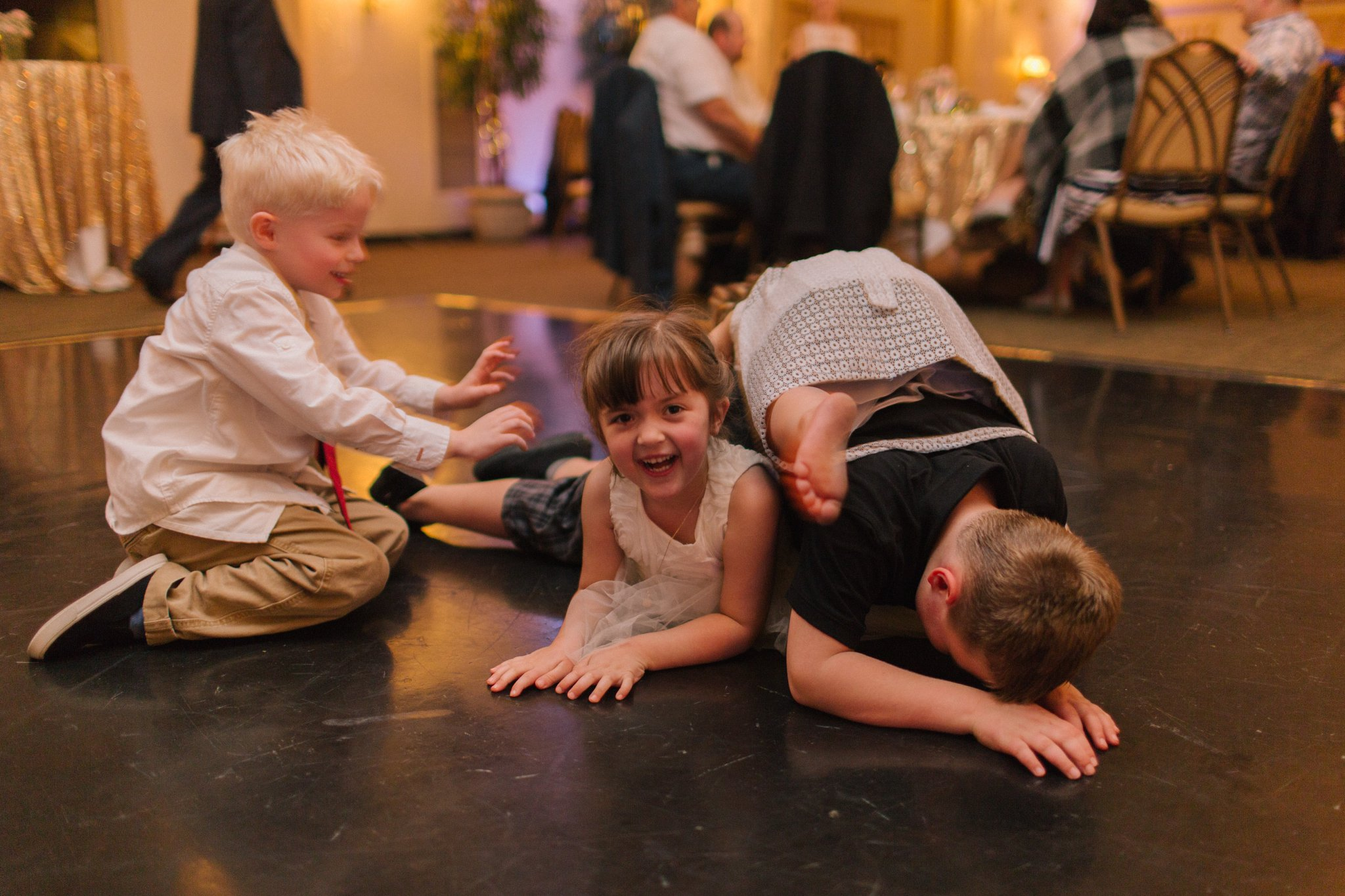 Gold Canyon reception kids playing on dance floor