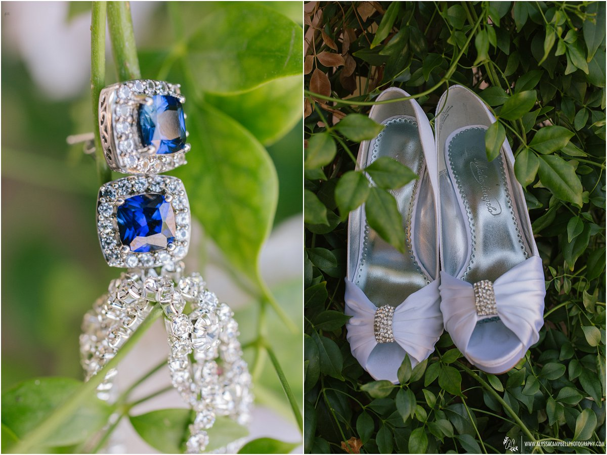 blue earrings and white bridal shoes