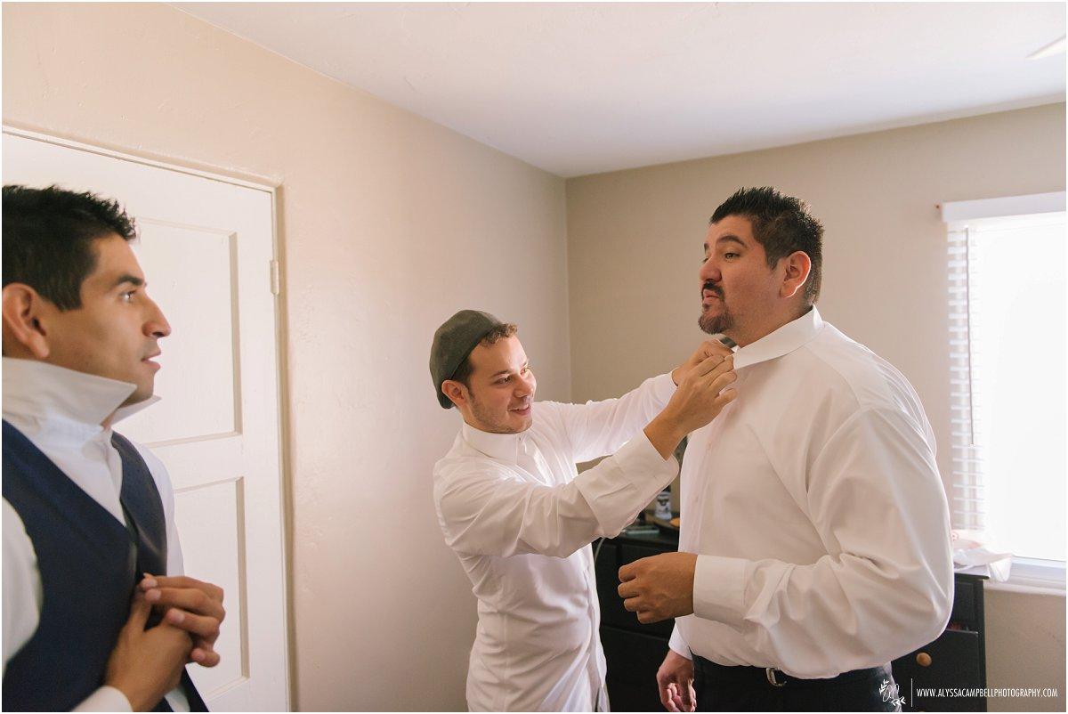 groomsmen getting ready in Phoenix home
