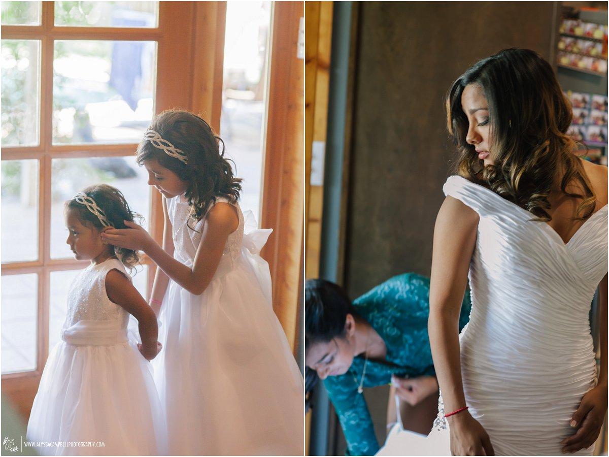 flower girls and bride getting ready for Phoenix wedding