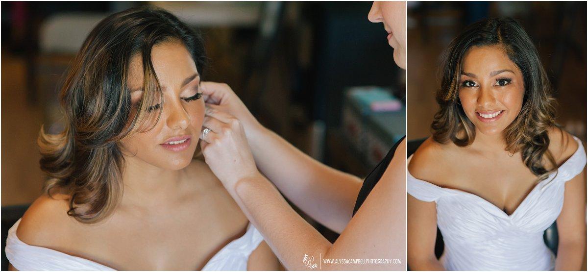 beautiful hispanic bride getting ready for Phoenix wedding