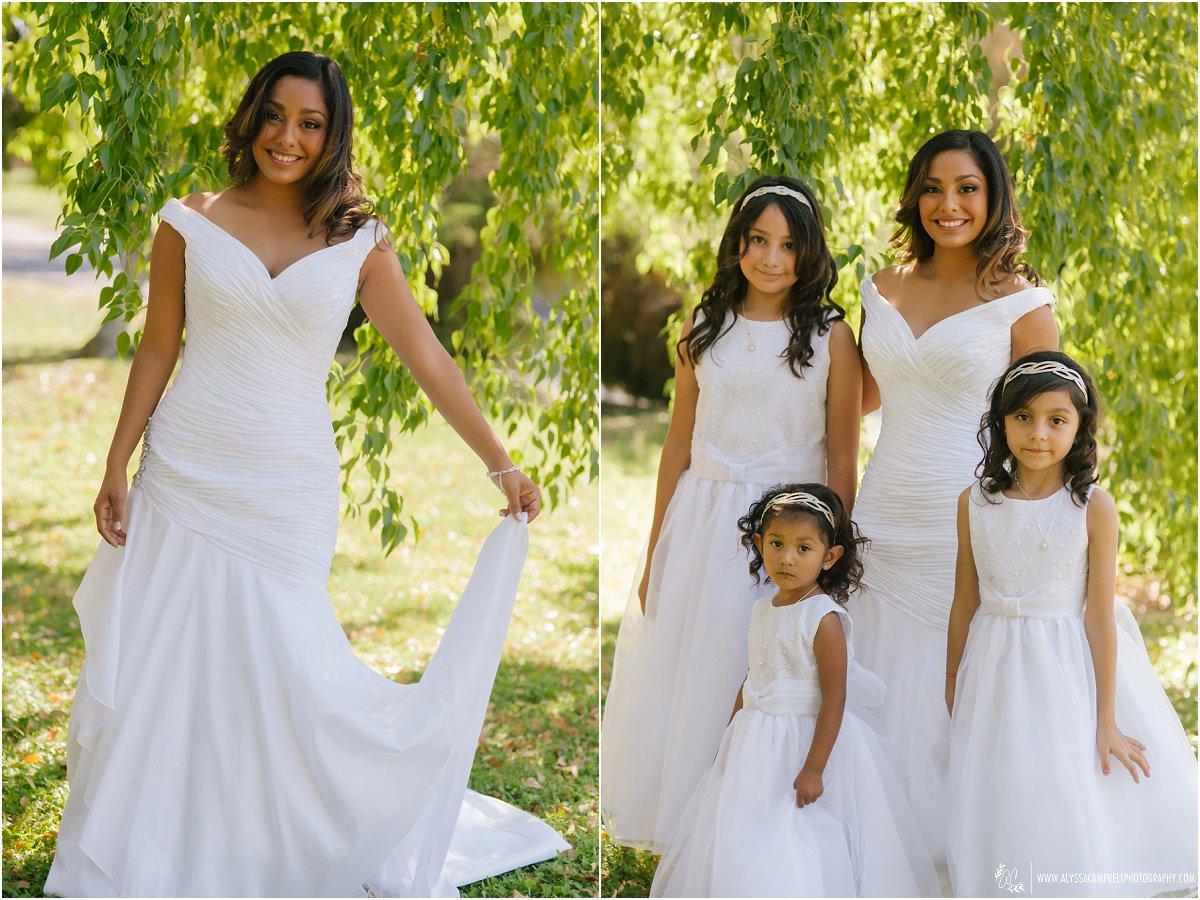 bride with flower girls in Phoenix home