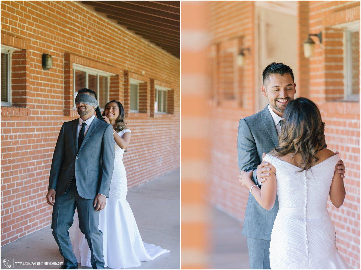 first look bride & groom at St Agnes Chruch Phoenix AZ