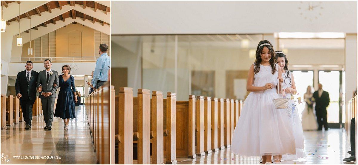 St Agnes Catholic Church Phoenix wedding groom and flower girls walking down aisle
