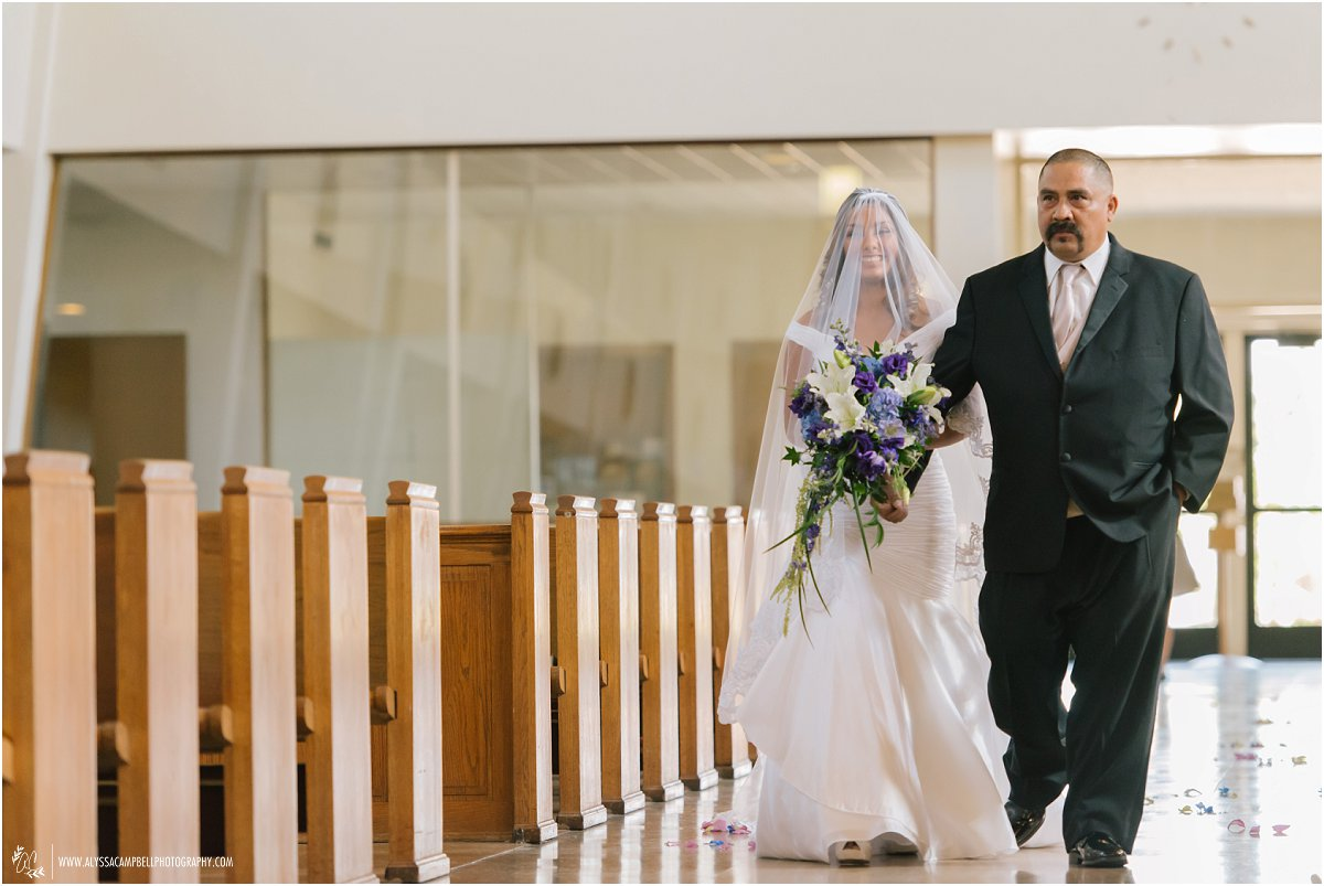 bride and father walking down aisle of St Agnes Church Phoenix AZ