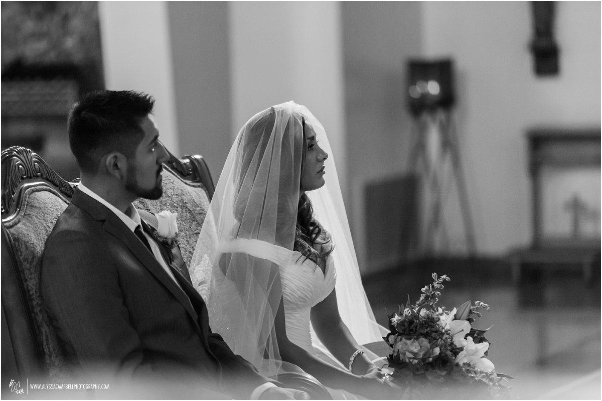 beautiful portrait of bride & groom during Catholic wedding ceremony at St Agnes Church Phoenix AZ