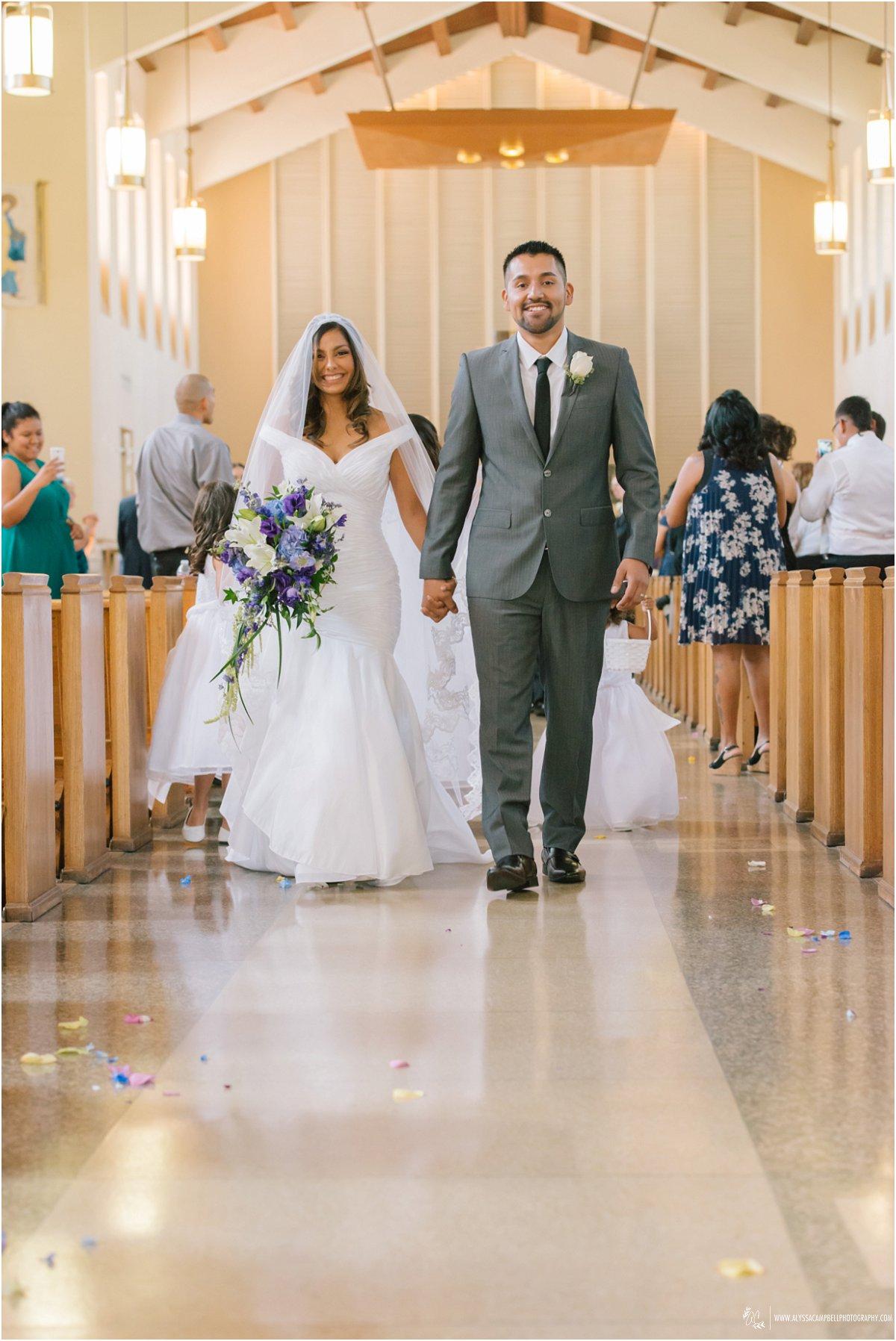 bride & groom recessional St Agnes Church Phoenix AZ