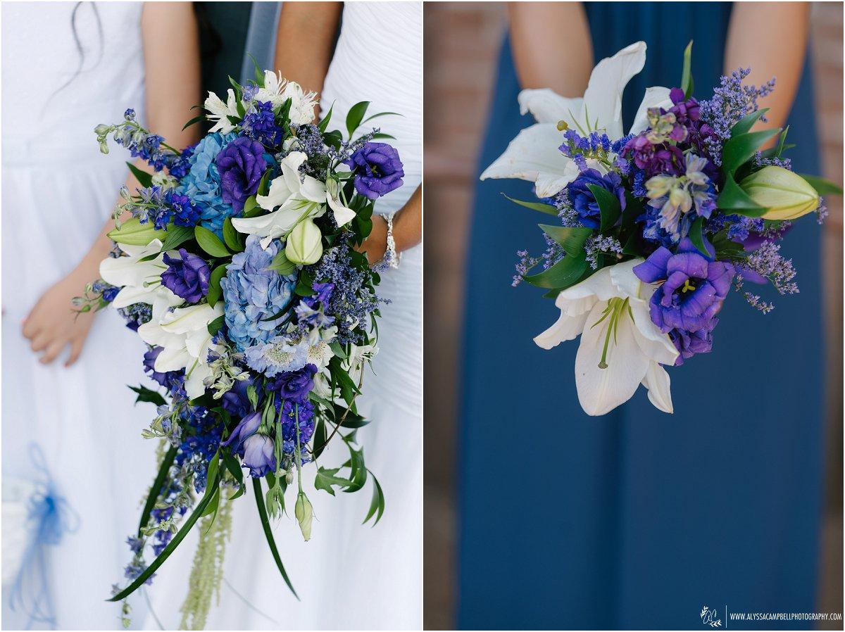 blue & purple wedding bouquets in Phoenix