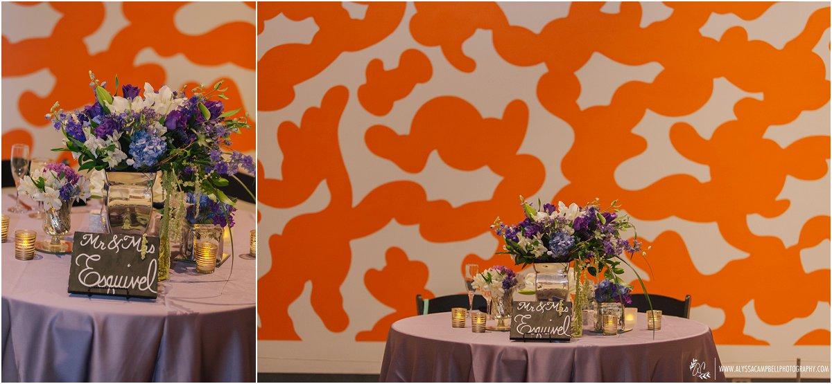 Phoenix Art Museum wedding reception sweetheart table