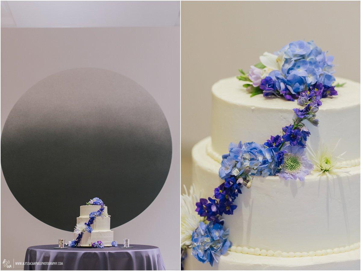Phoenix Art Museum wedding reception cake with cascading flowers