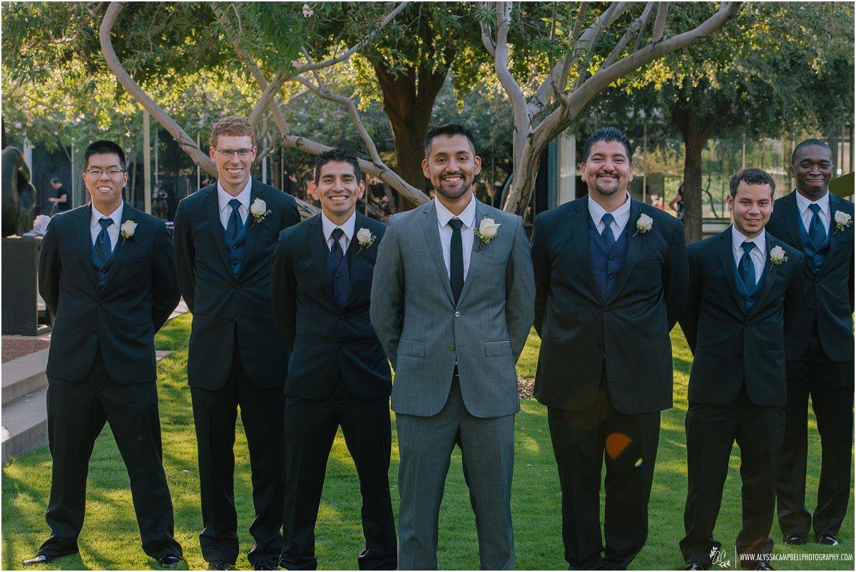groom & groomsmen at Phoenix Art Museum wedding