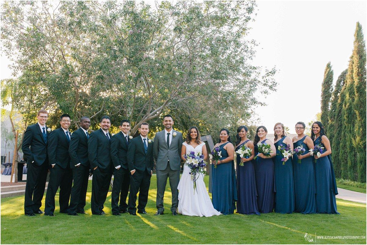 wedding party portrait at Phoenix Art Museum wedding