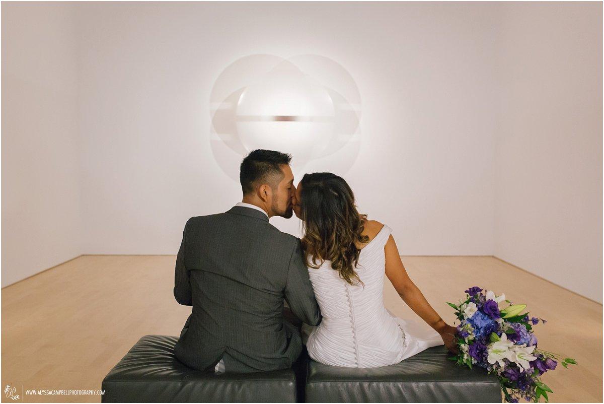 bride & groom looking at modern art Phoenix Art Museum