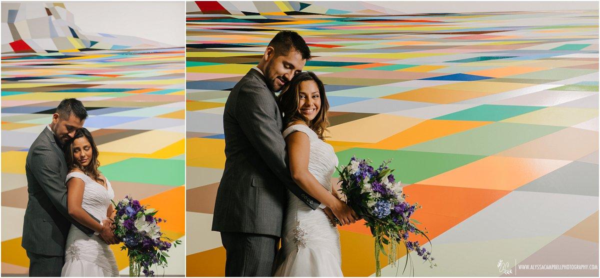 bride & groom colorful checkboard art Phoenix Art Museum wedding
