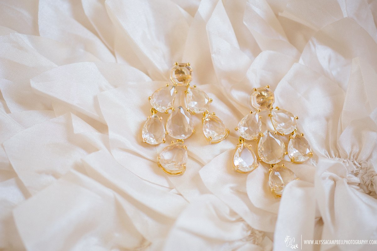 beautiful crystal and gold Kate Spade bridal chandiller earrings