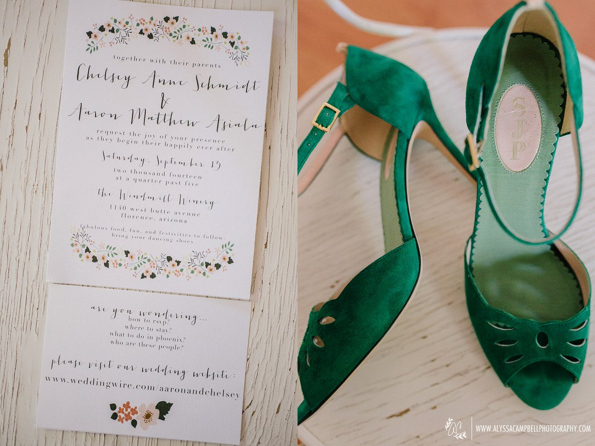 simple floral invitation and green strappy bridal heels at Windmill Winery wedding