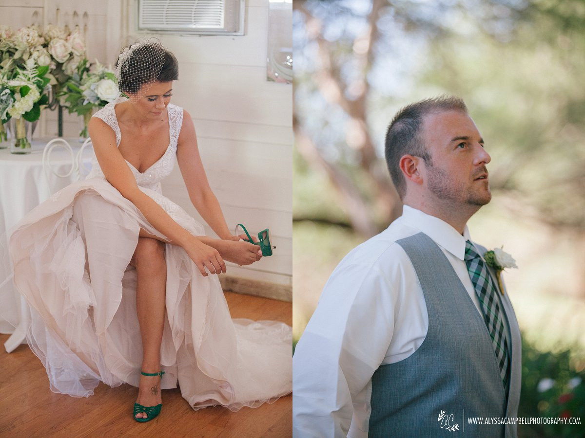 bride getting ready for first look with groom at Arizona rustic barn wedding venue Windmill Winery by Arizona Wedding photographer Alyssa Campbell Photography