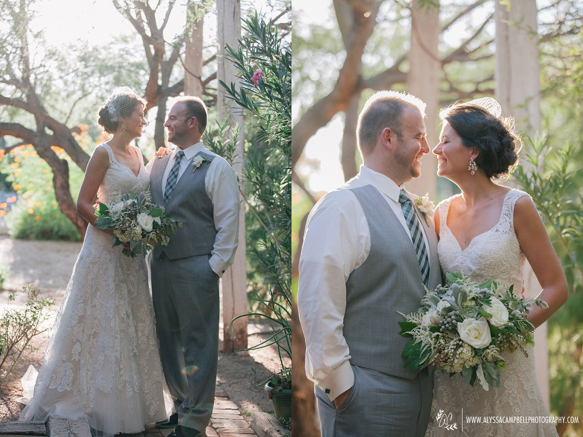 bride and groom at Windmill Winery Florence barn wedding venue AZ